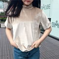 Spring women's College wind fashion all-match Slim gold velvet thicker semi high collar bottoming short sleeved T-shirt