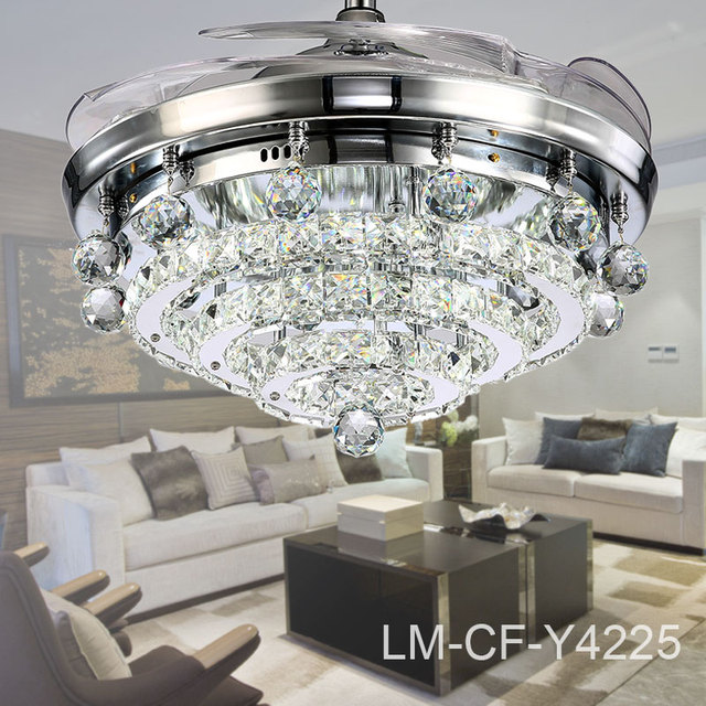 Crystal Flower Lampshade Ceiling Fan Y4225 Retractable Blades Silver With Light 110v 240v