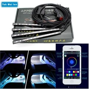 Image 1 - Tak Wai Lee 4X Cell Phone APP Control LED Atmosphere RGB Strip Light Car Music 16 Million Colors Acoustic Source Interior Lamp