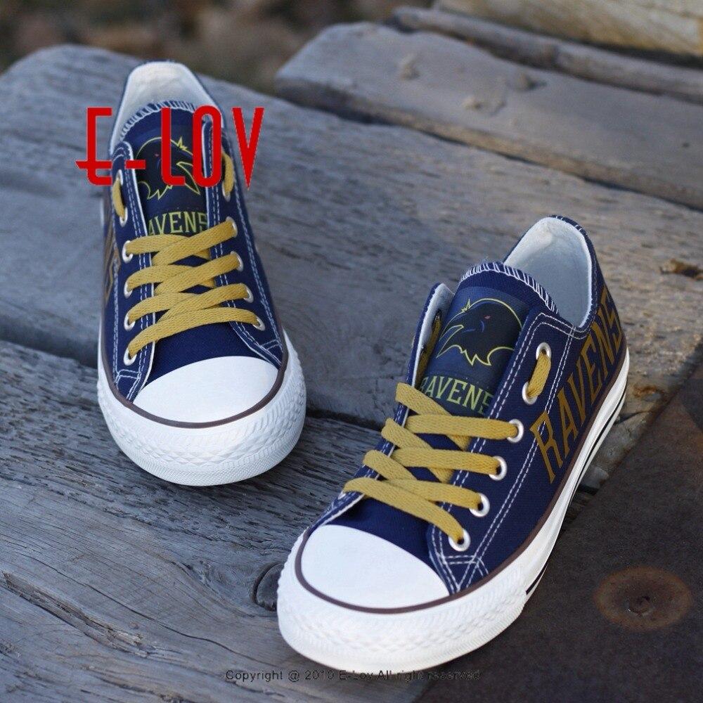 Hot Hot Hot Baltimore Ravens Blue Canvas Shoes Printing Fans Customized Boy Gril Shoes Boys Men Graffiti Big Size Shoes