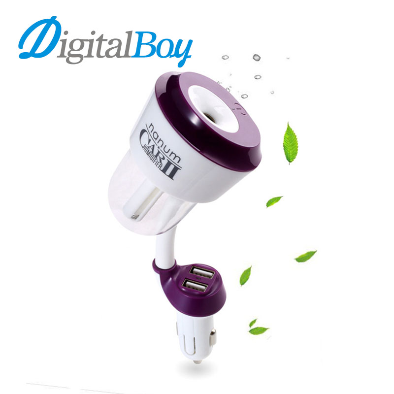 Digitalboy 12V Car Aromatherapy Diffuser Air Humidifier Oil Diffuser Air Purify Aroma Mist Maker Fogger with Dual USB Charger