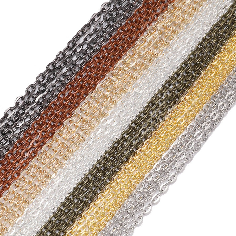 10m/lot Silver/Gold/Rhodium/Bronze  Color Long Necklace Chains Brass Bulk For DIY Jewelry Findings Making Materials Accessories10m/lot Silver/Gold/Rhodium/Bronze  Color Long Necklace Chains Brass Bulk For DIY Jewelry Findings Making Materials Accessories