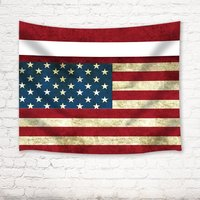 American Style Tapestry Vintage Retro American Flag Wall Art Hanging For Bedroom Living Room Dorm Blue