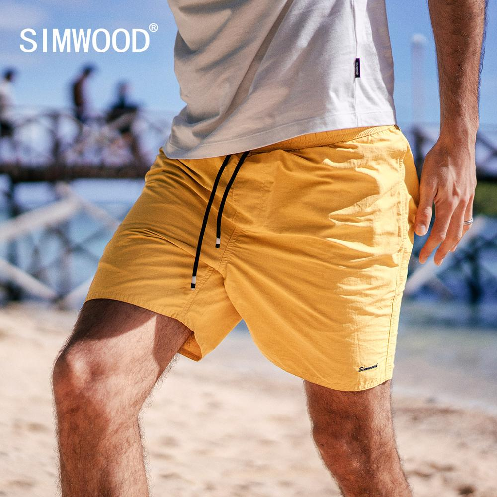 SIMWOOD 2019 summer new holiday beach   shorts   men drawstring loose casual letter embroidery   shorts   190292