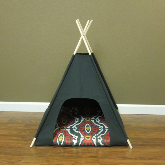 Large Black Canvas Dog Tipi Tent Teepee for Dogs Tipi Chat 30 Come with Floor Mat and Carry Case yellow chevron pet teepee dog bed house teepee for dogs rabbit teepee