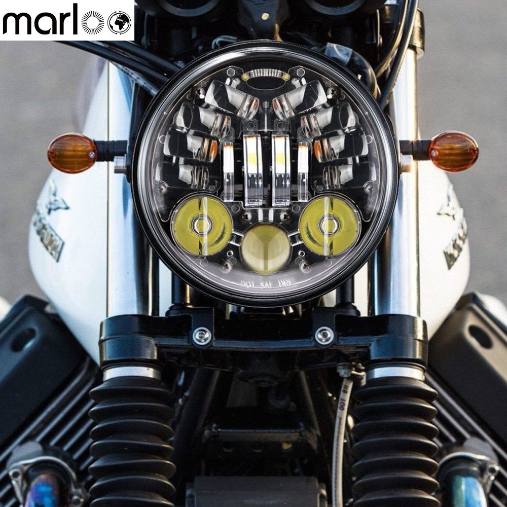 Marloo 5.75 5-3/4 Black LED Turn Signal Headlamp headlight for Harley Street Bob Nightster 48 Iron 883 Street 750 Indian Scout