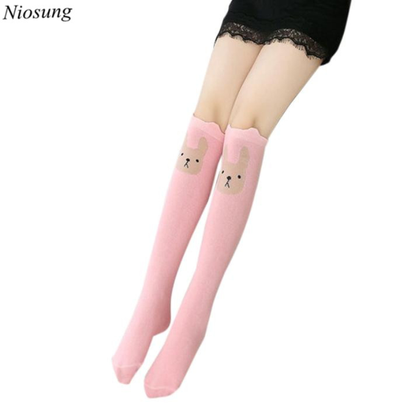 2017 New Children Kids Girl Animal Rabbit Pattern Print Knee High Socks Cute Socks Princess Socks For 2~7Y v