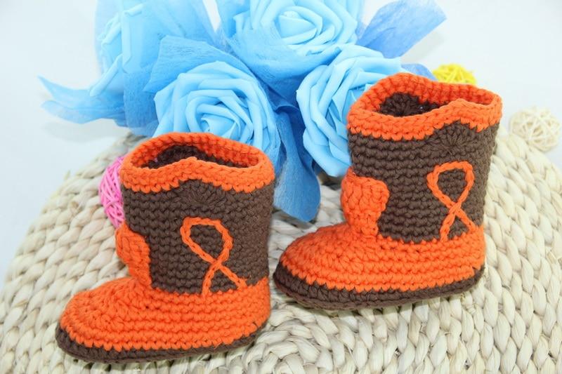 Free Shipping,Cute Handmade Knit Crochet Baby Cowboy Boots Shoes Newborn Photo Prop New - Orange/brown
