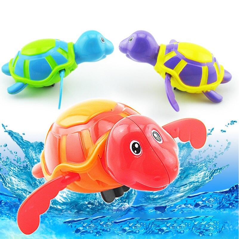 3pce/set Bath Toys Cute Swim Turtle Wind-up Baby Bath Tortoise Animal Bathtub Toys for Baby Children