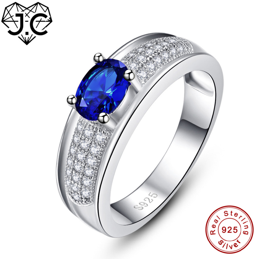 MoAndy Rings for Her Sterling Silver Rings Oval Shape Blue Topaz Sterling Silver Ring Zirconia