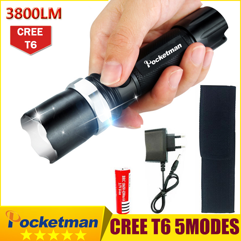 3800Lumens T6 Led Flashlight Torche Lampe Zoomable Led Torch Waterproof Tactical Flashlight lanterna with 18650 battery charger