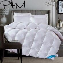 Белый одеяло с пухом утки 100% зима осень stiching Стёганое одеяло ed постельные принадлежности пледы king queen twin размеры