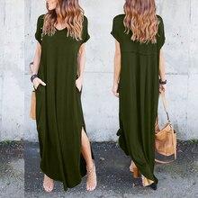 Good Quality Summer Spring Solid Color Casual Short Sleeve Pocket Spilt V Neck Loose Maxi Dress