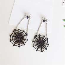 Doreen Box New Spider Web Women Fashion Stud Earrings Ear Post Black Silver Color Spider Animals Earrings Jewelry, 1 Pair