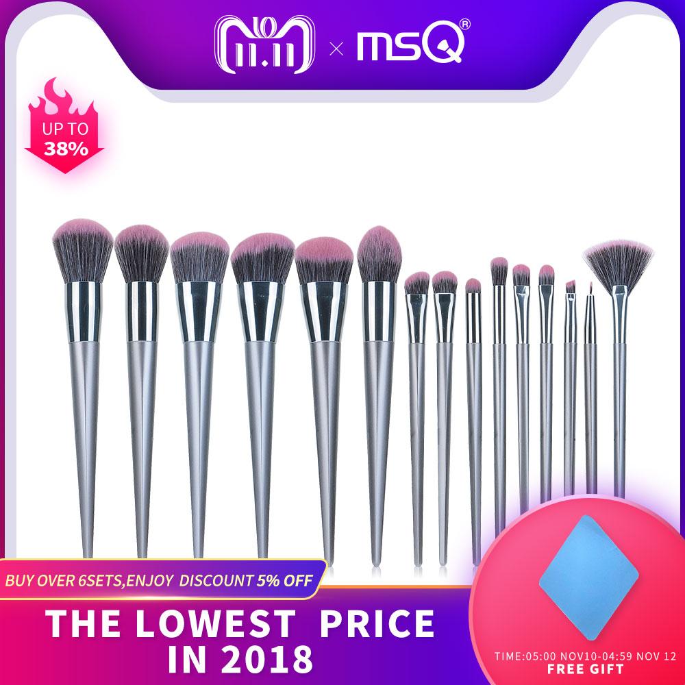 MSQ 15 pcs Pincel de Maquiagem Conjunto de Alta Qualidade Natural-Cabelo Sintético Para Delineador Fundação Blush Em Pó Lip Make Up escovas Kits