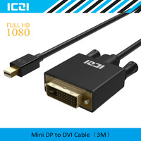 Thunderbolt To DVI ICZI Mini DisplayPort To DVI Adapter Cable 10ft 3m Male To Male Gold