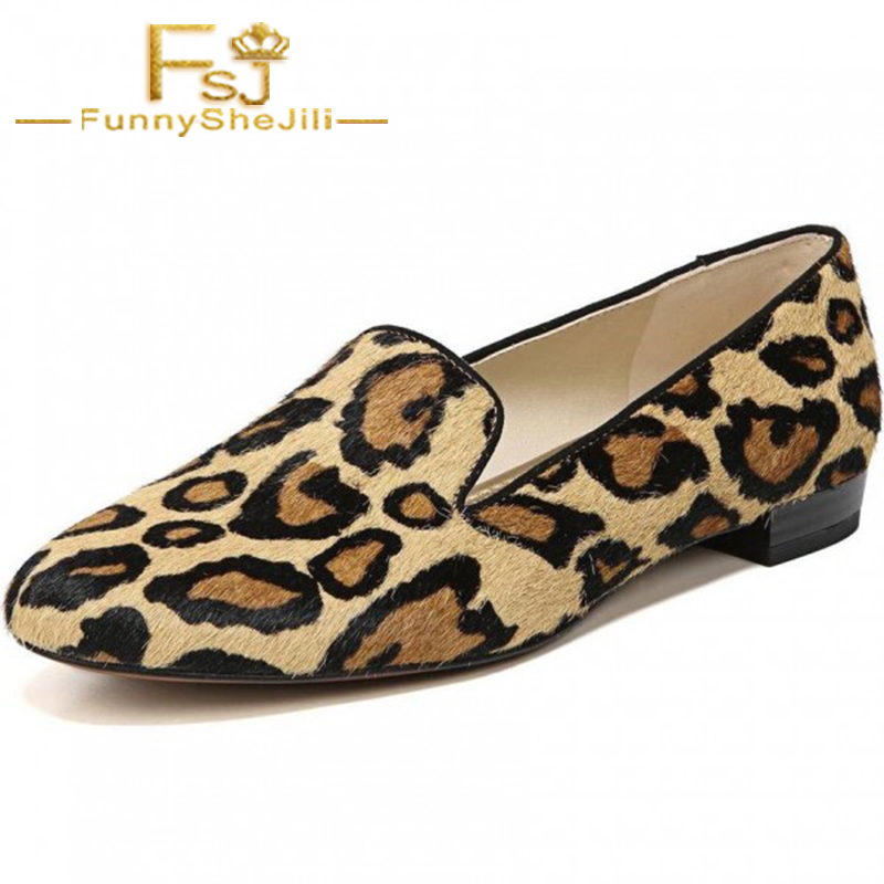 Loafers Horsehair Brown Leopard-Print Slip-On Black Women Spring Autumn Fashion for Animal