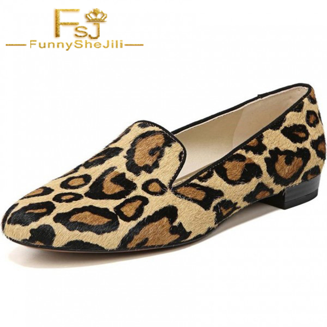 f9f9bf8af31 Brown Horsehair Leopard Print Loafers for Women Animal Prints Spring Autumn  Anniversary Black Friday Fashion Slip-On FSJ Sexy