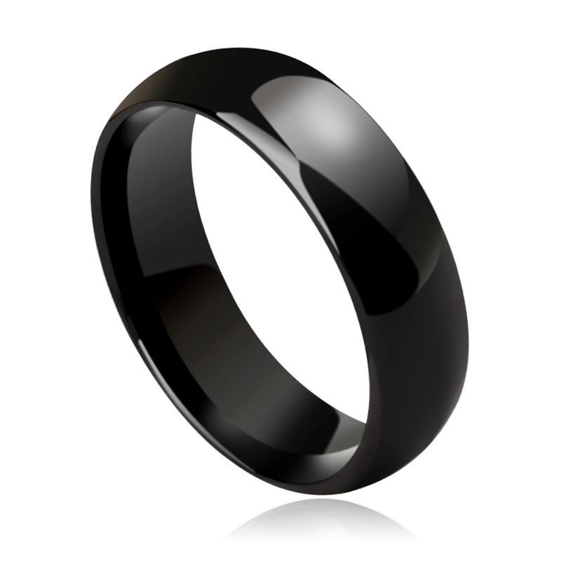 New Fashion High Polished Hi-Tech Ceramic Dome Band Rings for Man Black White Two Colors 3.5mm/6mm Width Size 5-13