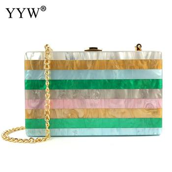 Acrylic Chain Clutch Bag Rainbow Women Evening Clutch and Shoulder Bag Colorful Handbag for Wedding Bridal Banquet Party фото