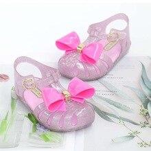 Mini Melissa 2019 New Roma Jelly Sandals Children Leisure Non-slip Big Bow Princess Cute Single Shoes