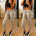 New Casual Womens Zipper Grey Pants 2016 Fitness Skinny Pencil Trousers pantalons pour femme