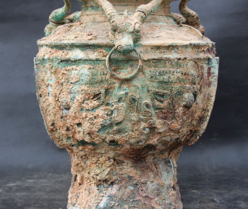 "16"" Old Chinese Dynasty Bronze Sheep Beast Animal Antique Vessels Bottle Vase"