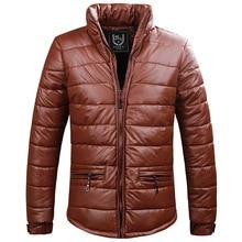New Men's Casual Thick Winter Slim PU Leather Warm Cotton Jacket Coat Parkas For Men Winter,2 Colors,Size M-3XL,1009,Free Ship