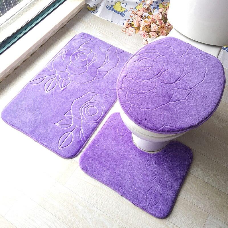 3 PCS Siège De Toilette Couverture Flanelle Solide Relief Anti-slip De Bain Tapis Lavable wc couvercle de toilette Accessoires de Salle De Bains wc tapis ensemble