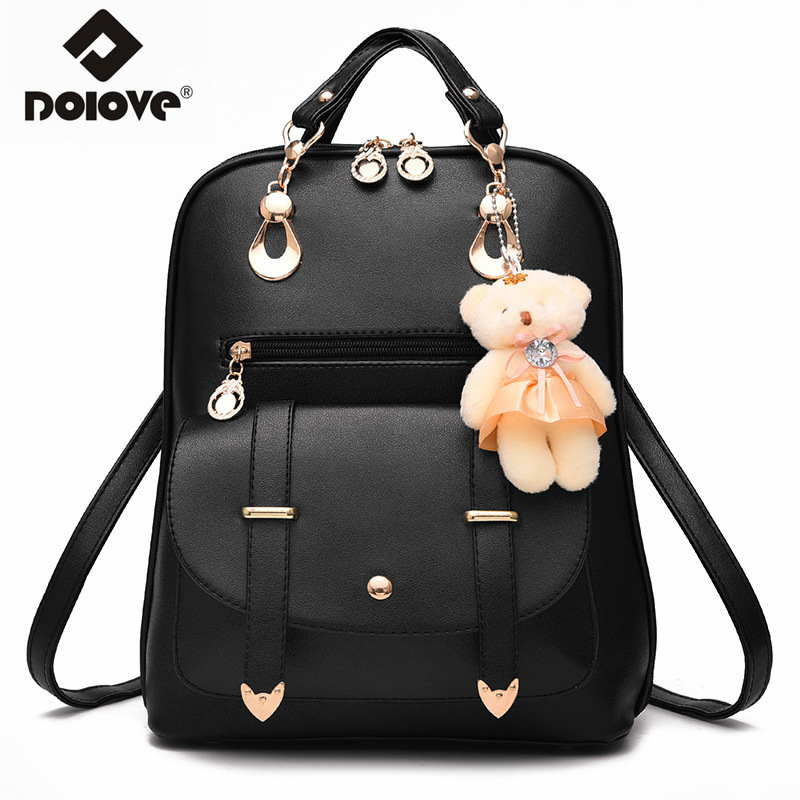 b1e3e7d38b6c DOLOVE 2018 Fashion Women s Backpack Bear Student Pu Leather Backpack One  Shoulder Hand School Bags