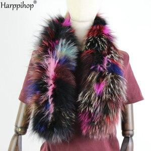Image 1 - 2019 Phụ Nữ Mới Chính Hãng dệt kim Cáo Khoác Nỉ Thật Cổ Lông Mùa Đông Ấm Cổ Ấm bạc Fox màu hỗn hợp khăn 130 cm