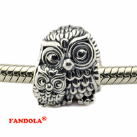 Fits for Pandora Bracelets Charming Owls Beads 925 Sterling Silver Jewelry Beads Wholesale Free Shipping