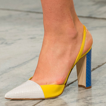 цена на Yellow Color block Ladies Heels Sexy Slingbacks Square Heel Runway Ladies Shoes Genuine Leather Woman Shoes High Heel size 34-43