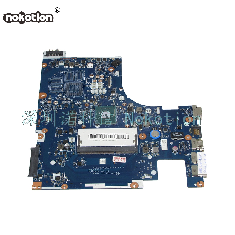 NOKOTION ACLU9 ACLU0 NM-A311 Main board For lenovo Ideapad G50-30 Laptop motherboard SR1SG N2820 CPU full works hot in russian g50 30 laptop motherboard fit for lenovo aclu9 aclu0 nm a311 main board ddr3 with processor on board