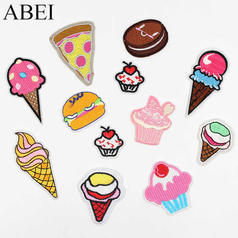 12pcs/lot Embroidered Cake Ice Cream patches Iron On Cartoon Sweet Food Appliques DIY Fashion Clothes Bags Jeans Stickers Badge