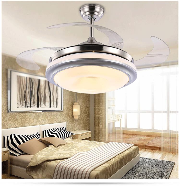 Ceiling fan lamp ceiling telescopic modern minimalist - Bedroom ceiling fans with remote control ...