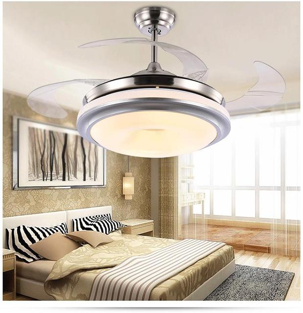 Ceiling Fan Lamp Ceiling Telescopic Modern Minimalist Bedroom Living Room  Dining Room Light Remote Control Invisible