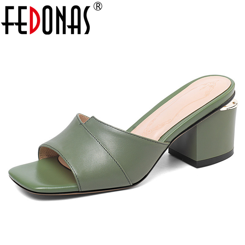 FEDONAS Classic Genuine Leather Women Sandals 2019 New Square Toe High Heels Rome Shoes Woman Casual Party Shoes Basic Slippers
