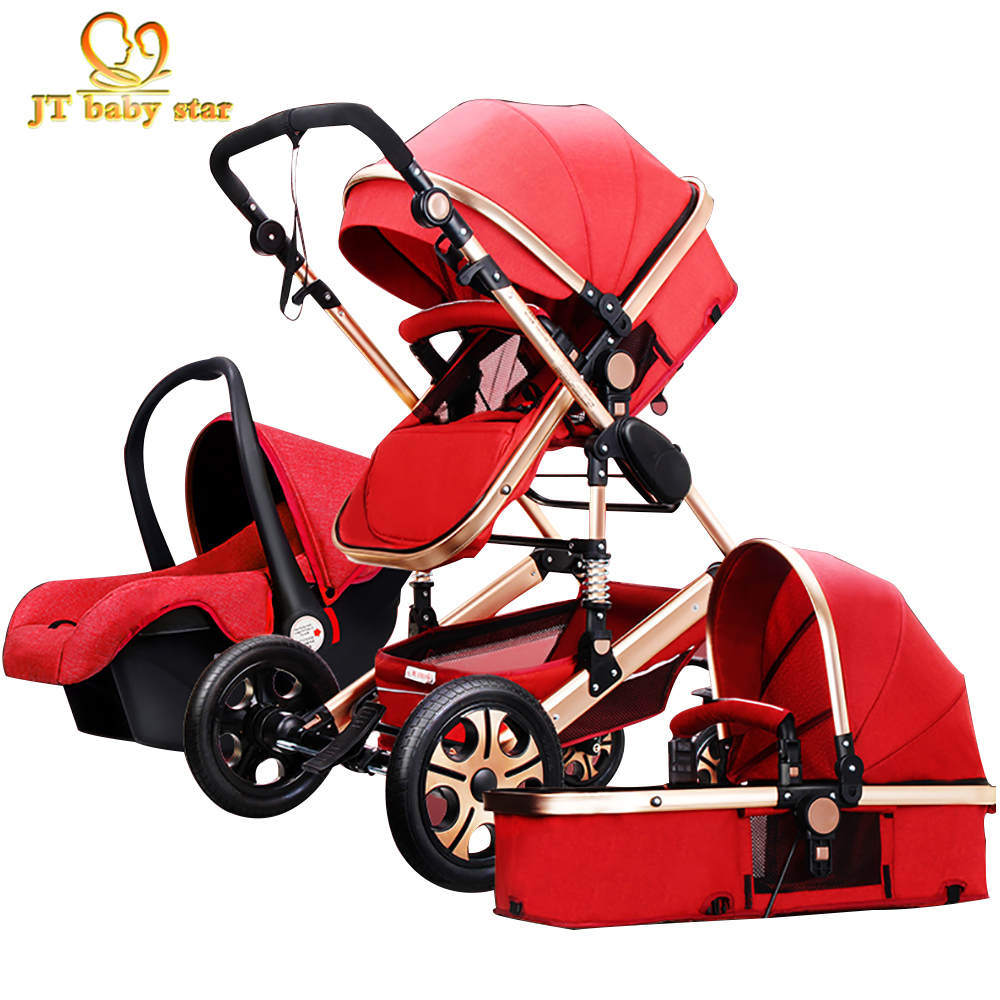 3-in-1 baby stroller 2017 the latest JTBS high landscape  trolley can sit can be lying luxury strollers  umbrella car high profile luxury baby stroller can sit can lying baby carriage hand can adjustable trolley war ax wheel umbrella car