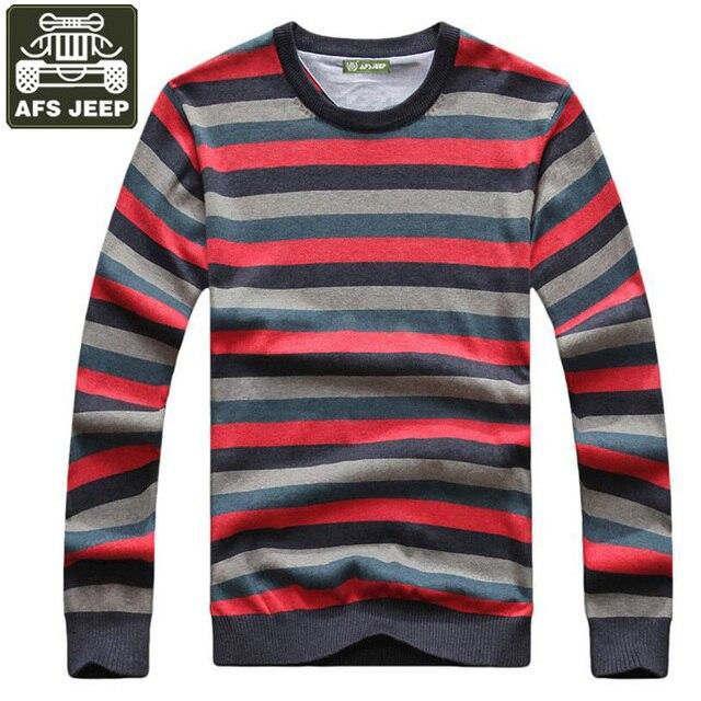 free shipping 24afe 48381 US $34.98 49% OFF|AFS JEEP Marke 2017 Herren Pullover Pullover Gestreift  Plus Größe M 3XL Dünne Wolle Pullover Männer Winter Kleidung Pull Homme in  ...