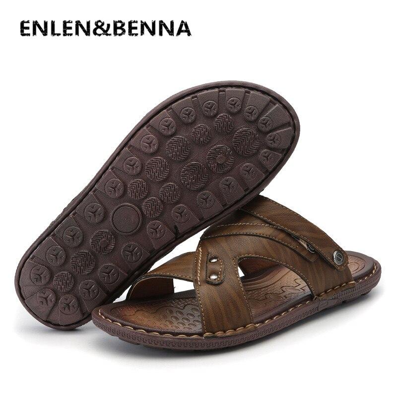 Enlen & benna/Классические летние туфли Для мужчин тапочки качество Разделение кожаные сандалии для Для мужчин удобные Вьетнамки Для мужчин пляж...