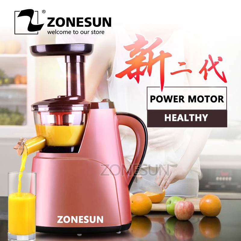 ZONESUN 2nd Generation 100% Original Juicer Slow Juicer Fruit Vegetable Citrus Low Speed Juice Extractor new hurom slow juicer hue21wn fruits vegetable low speed juice extractor make ice cream juicer