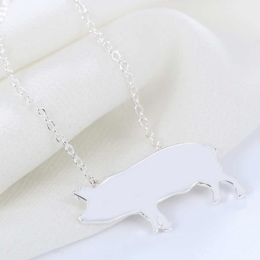 Silver Plated Pig Piglet Pendant Necklace For Women Fashion Small Charm Long Chain Jewelry Wedding Party Gift Drop Shipping