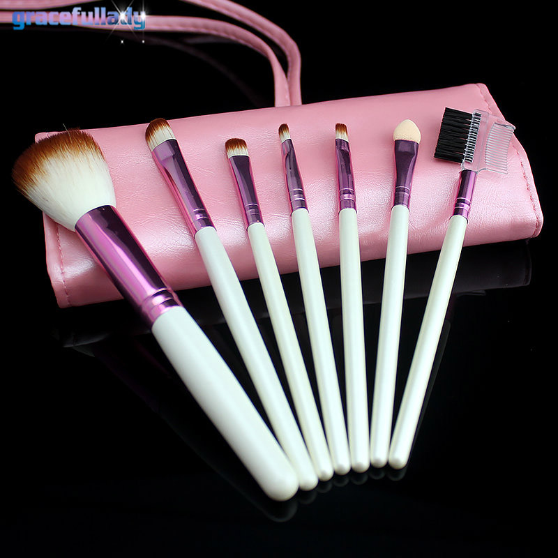 Professional 7Pcs/Set Makeup Brushes Set Tools Make-up Toiletry Kit  Make Up Brush Set Case Cosmetic Foundation Brush new professional 15 pcs makeup brushes set tools make up toiletry kit make up brush set case cosmetic foundation brush