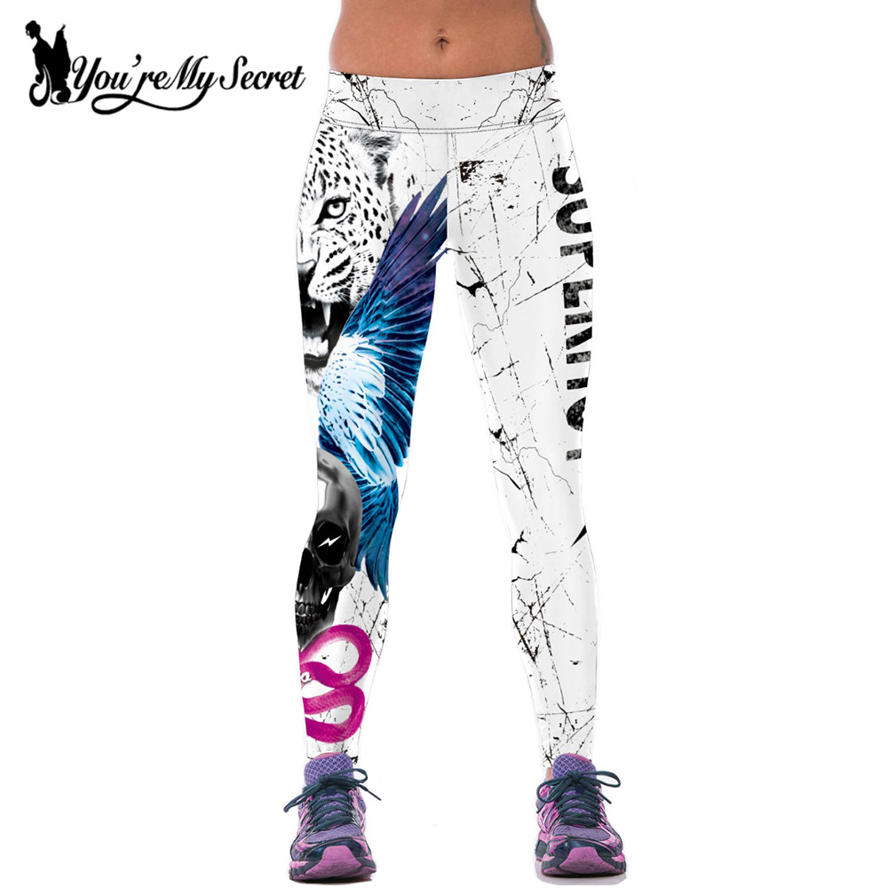 [You're My Secret] Fashion Joggers Fitness Legging High Waist Elastic Tiger Sporting Leggins Workout Skull Legging Mujer