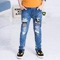 Новый Год, джинсы мальчик для детей носить модный стиль и высокое качество дети джинсы, мальчики разорвал джинсы