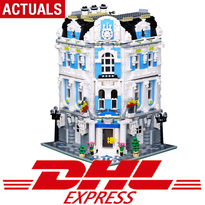 купить New 3196pcs 15018 MOC City Series The Legoing Sunshine Hotel Set Building Blocks Bricks Educational Toys по цене 6731.75 рублей
