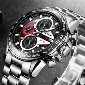 Image 4 - LIGE Fashion Men Watches Male Creative Business Chronograph Quartz Clock Stainless Steel Waterproof Watch Men Relogio Masculino