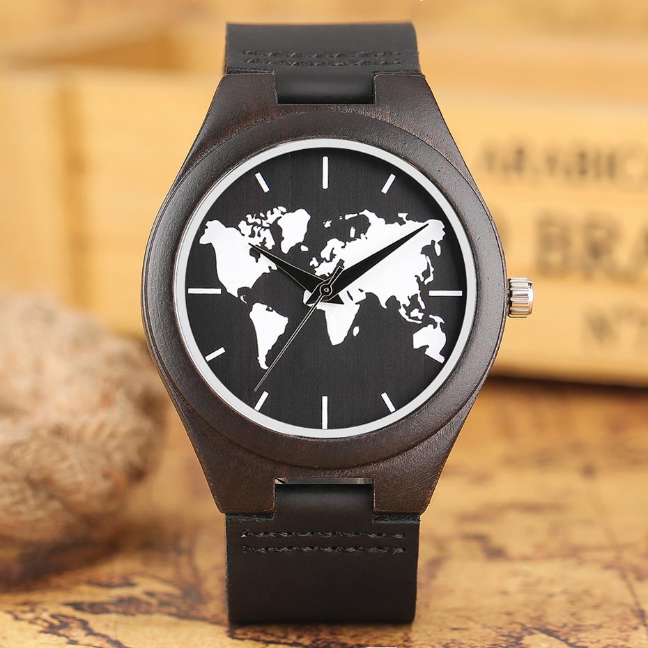 2017 Fashion Nature Ebony Wood Watch Mens World Map Handmade Black Quartz Wristwatch Minimalist Classic Bamboo erkek kol saati (7)