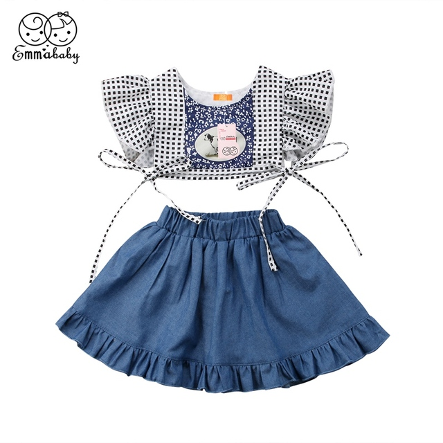 0eaea66eb 0-24M New Infant Kid Baby Girl Cow Print Short Plaid Crop Top Denim Jeans  Pant Dress Party Clothes Suit